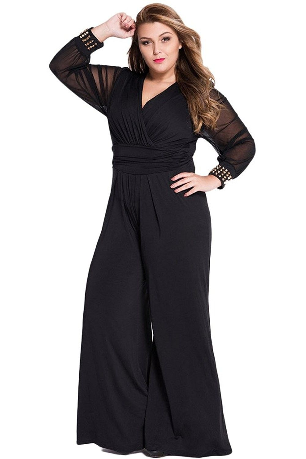 a02c7666594 Womens Plus Size Jumpsuits Long Sleeve V-neck Casual Style Set Black ...