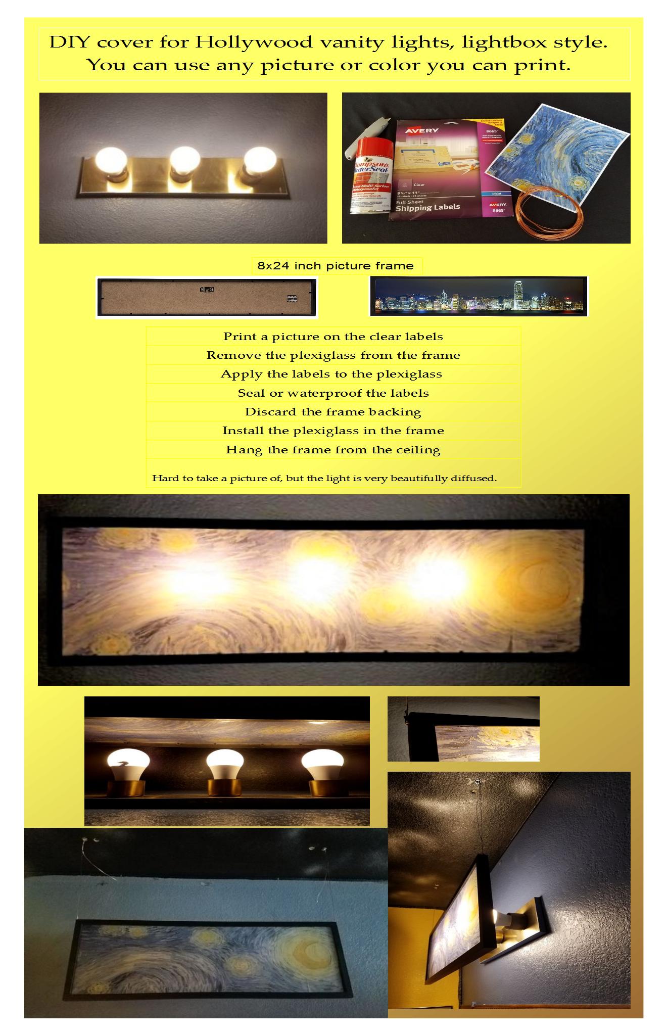 Diy how to make a cover shade for builder hollywood vanity light diy how to make a cover shade for builder hollywood vanity light strips easy home upgrade aloadofball Choice Image