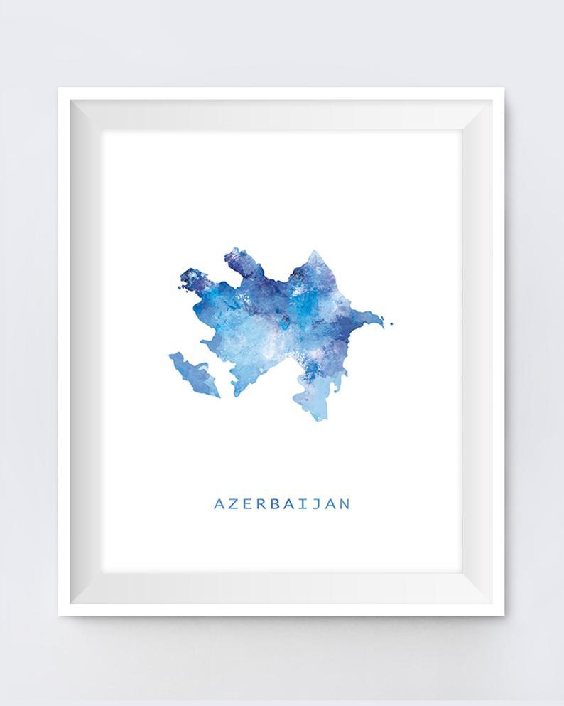 Azerbaijan Map Print Watercolor Azerbaijan Poster Home Etsy Map Print City Painting Map Art