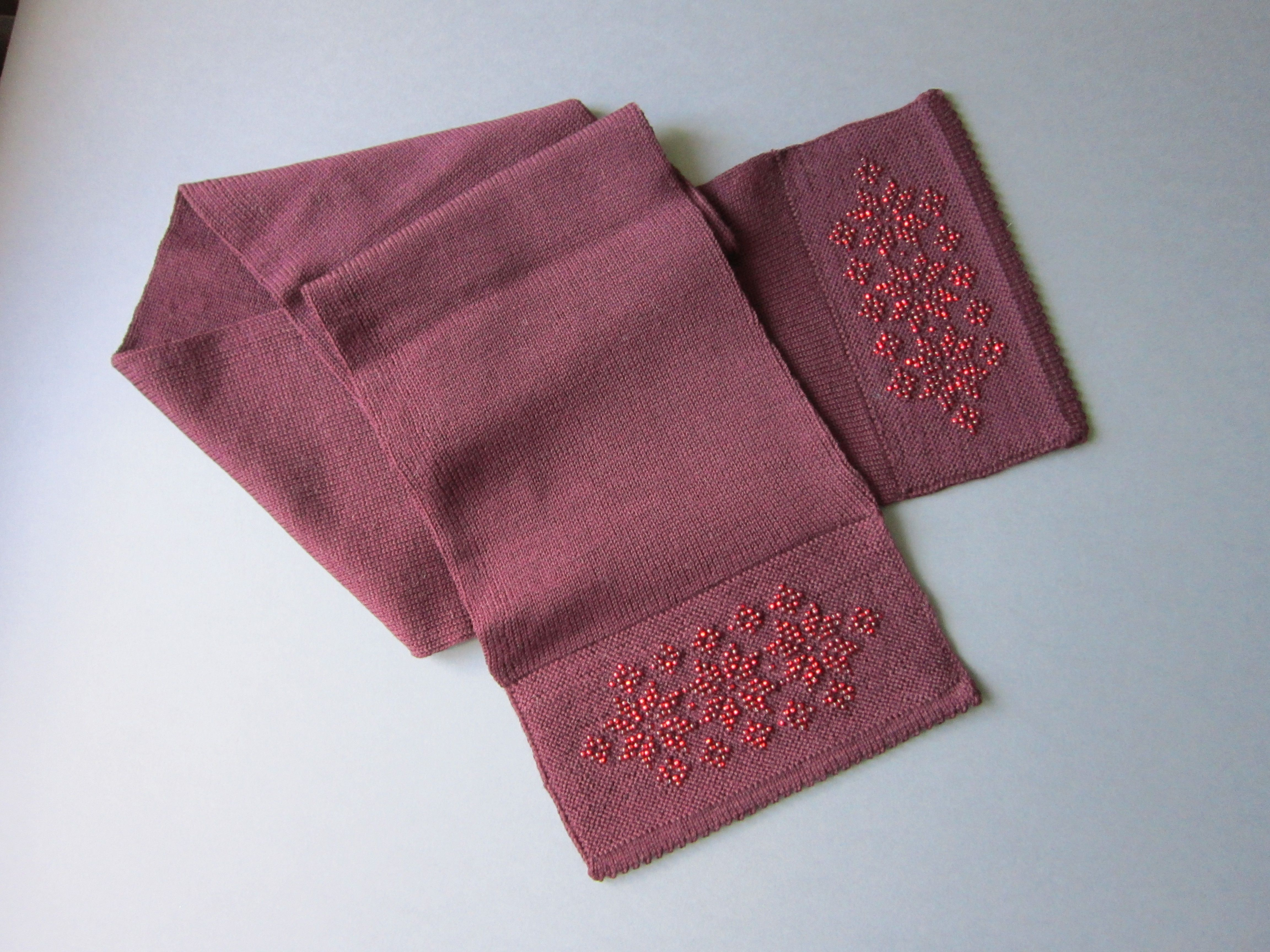 Dark Red Merino Wool Scarf with Seed Beads