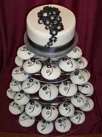 Black And White Wedding Cup Cake Tower Elegant With Swirls Blossoms