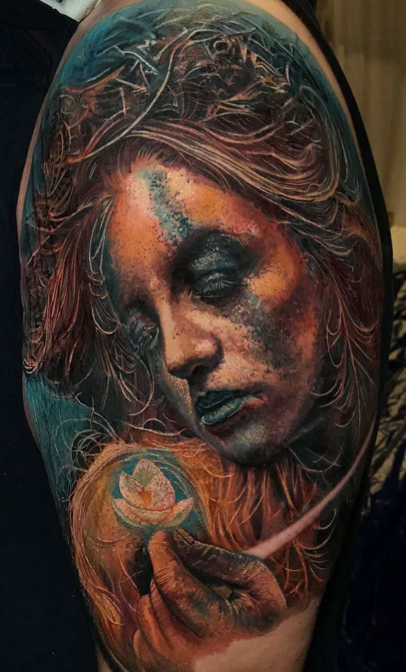 Mother Nature By Boris An Artist Currently Working In Vienna Austria Mother Nature Tattoos Girl Tattoos Nature Tattoos
