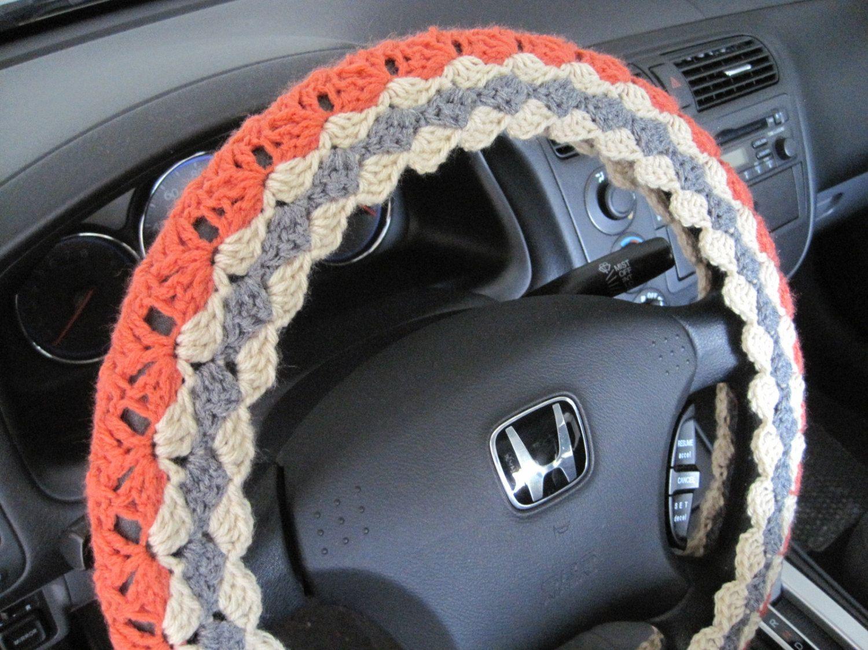Crochet steering wheel cover wheel cozy coraltrue grey