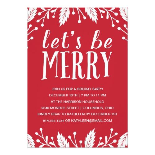 Be Merry Holiday Party Invitation 2017 Christmas Card Trends - holiday party invitation