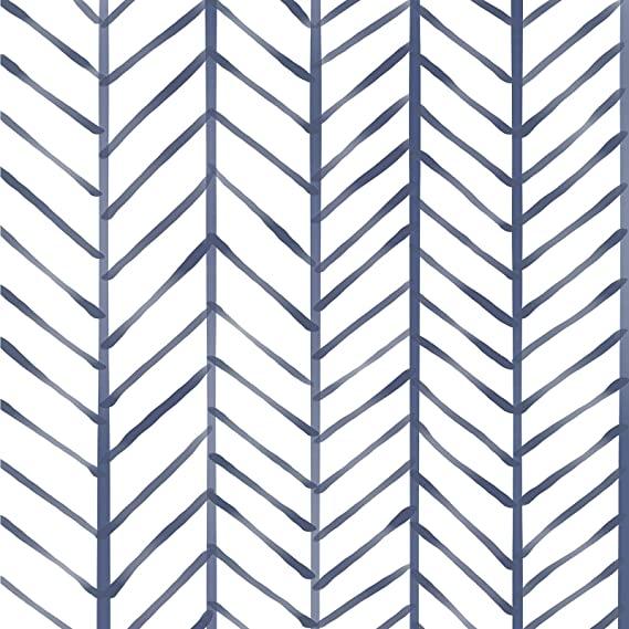 Caltero Stripe Peel And Stick Wallpaper White Blue Herringbone Wallpaper 17 7 X 118 Self A Herringbone Wallpaper Peel And Stick Wallpaper Removable Wallpaper