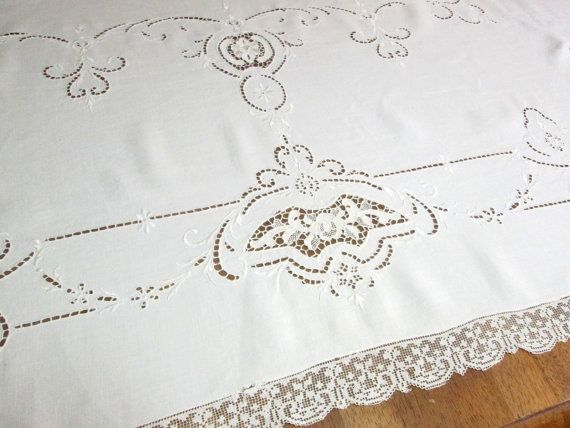 Antique Lace Tablecloth Vintage White Linens Table Cloth Italian