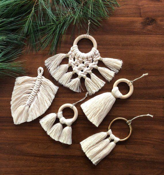 Modern Macrame Christmas Ornament Collection Tassel Ornaments