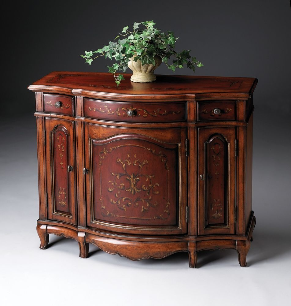 Online Furniture Free Shipping: Hand Painted Console Cabinet Antique Brass Finished