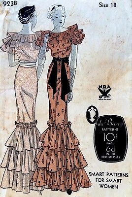 1930s-Vintage-Art-Deco-Evening-Dress-Du-Barry-Pattern-923B-FF-Frilled-Layers