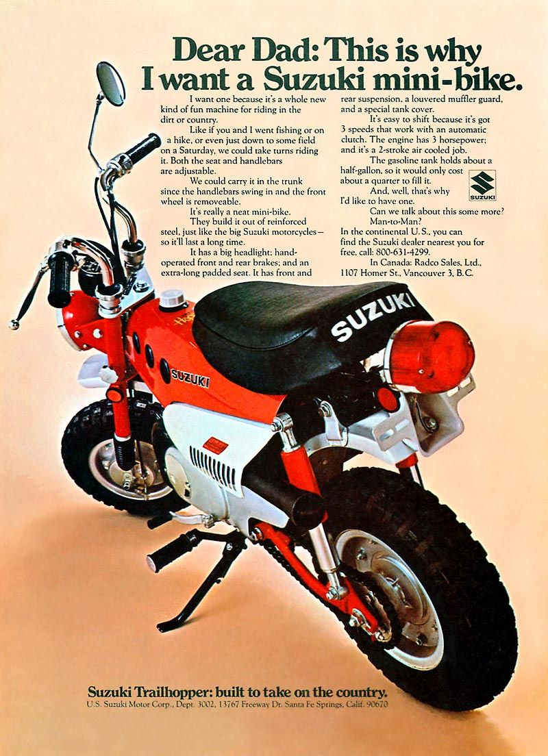 1971 mt-50 r trailhopper magazine ad | suzuki | pinterest