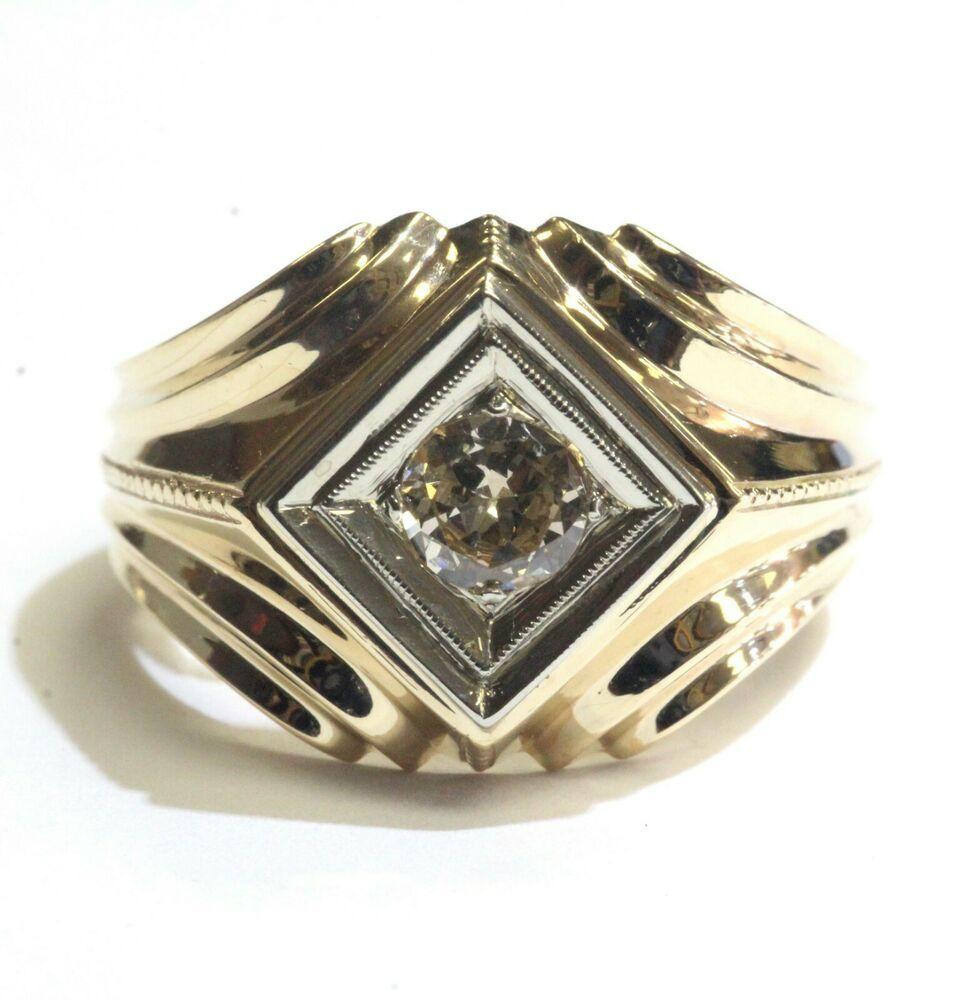 1 Carat G H Enhanced Diamond Designer Solitaire Mens Man Wedding Ring 14k Y Gold,Vector Logo Design Construction Logo Png