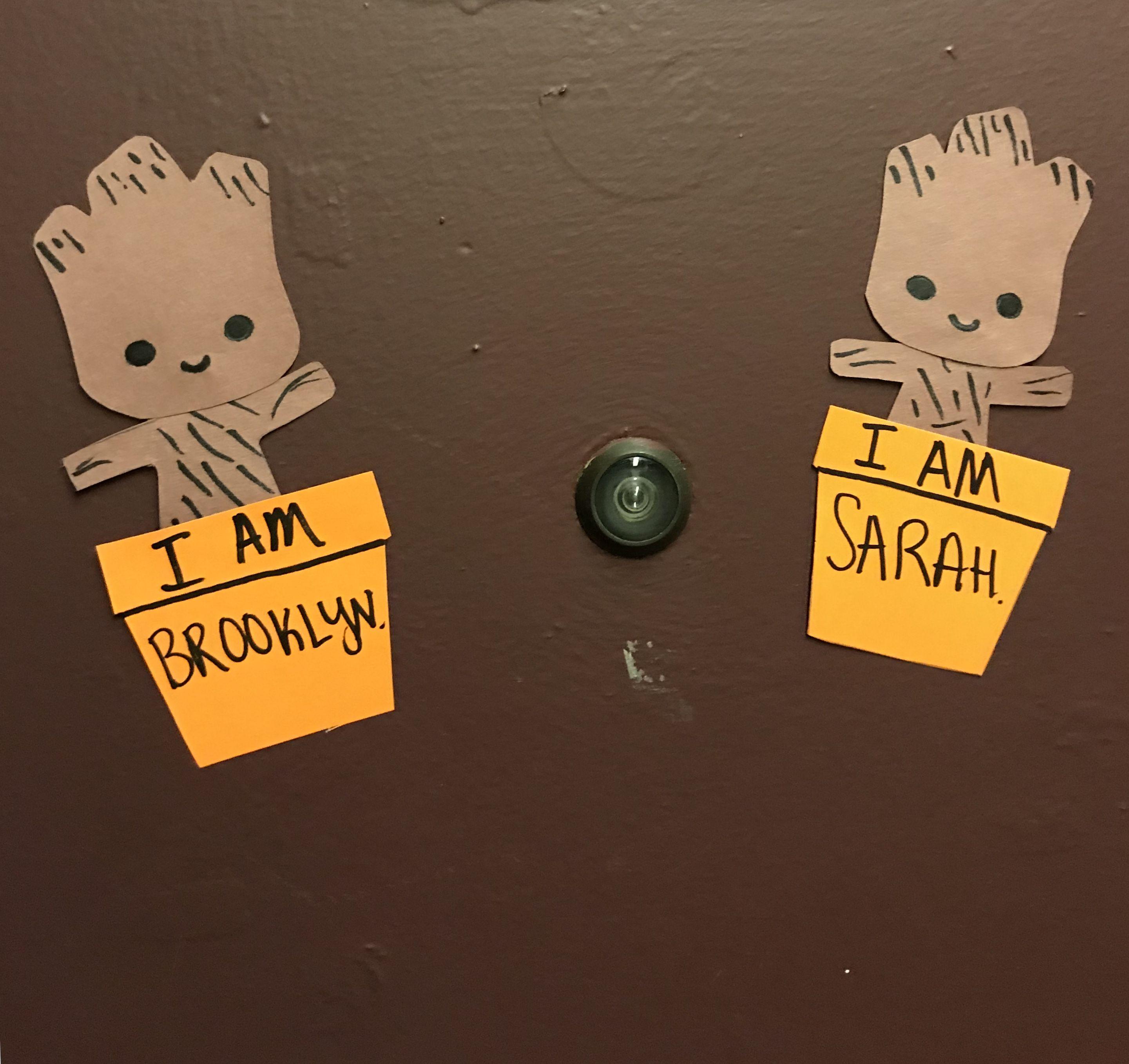 Baby Groot Door Decs Emily S Ra Stuff Dorm Door Ra Door Decs