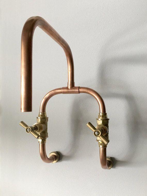 Loop Wall Mount Industrial Handmade Copper Faucet Robinet