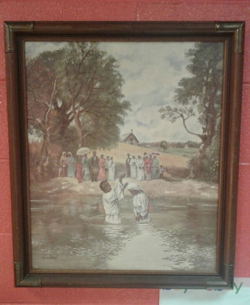 African American Art River Babtism Scene Lithograph By Personal