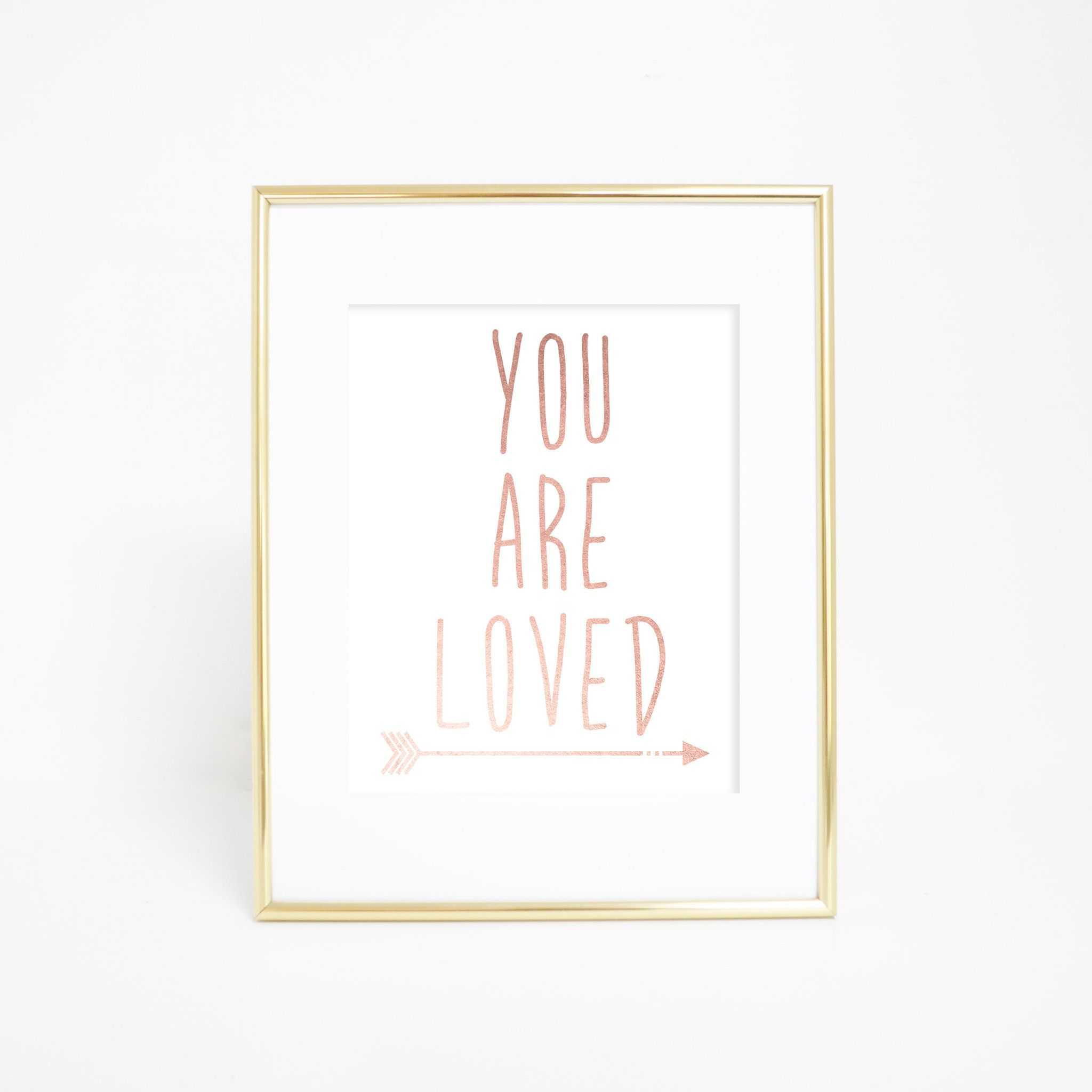 Rose gold you are loved wall art print affiches à imprimer