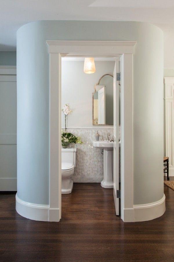 For The Small Bathroom Narrow Half Bathroom Design Modern Masculine Half Bathroom Ideas Trad Powder Room Ideas Half Baths Modern Powder Rooms Powder Room Small