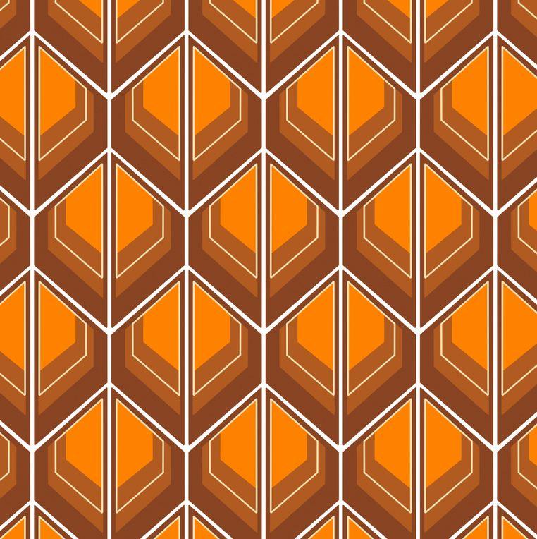 Stoff Fabric Von Fummelhummel Auf Stoffn Retro Orange Braun Tapete 70er 60er 70s 60s Brown