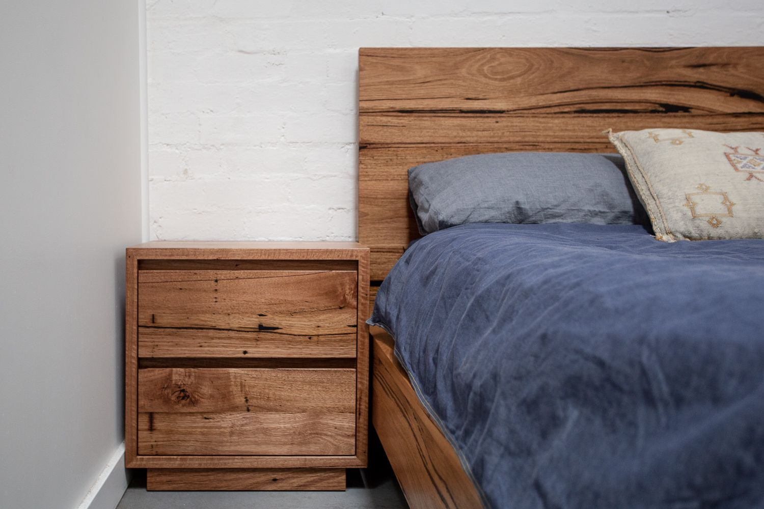 Heathcote Recycled Timber Bedside Table And Helga Bed Timber Beds Bed Furniture Furniture