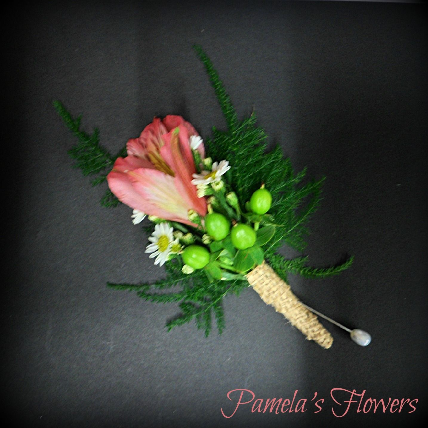 Father S Boutonniere Designed By Pamela S Flowers A Coral Alstroemeria Blossom Accented With Wh Wedding Party Flowers Flower Delivery Service Flower Delivery