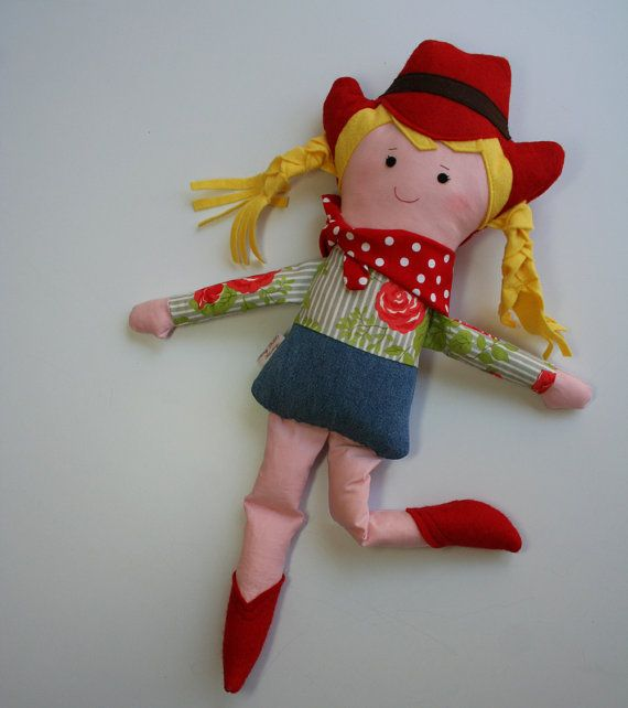 Rag Doll Cowgirl Earth Friendly Soft Doll With Red Boots And Etsy Soft Dolls Doll Making Cloth Rag Doll