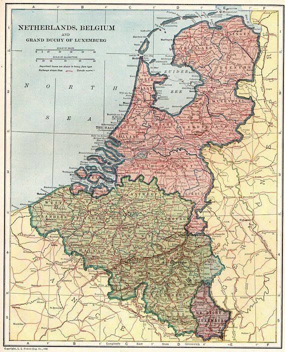 1921 Antique Netherlands Map And Belgium Map Of The Netherlands