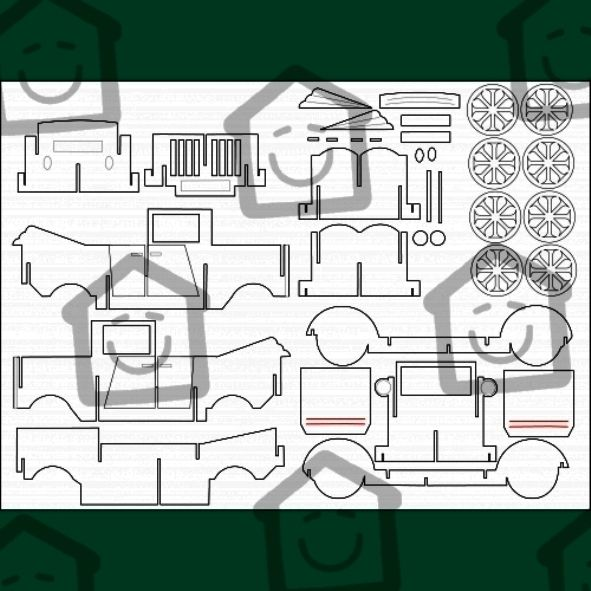 car template JENIGAMI Paper Crafts, Templates, Kirigami