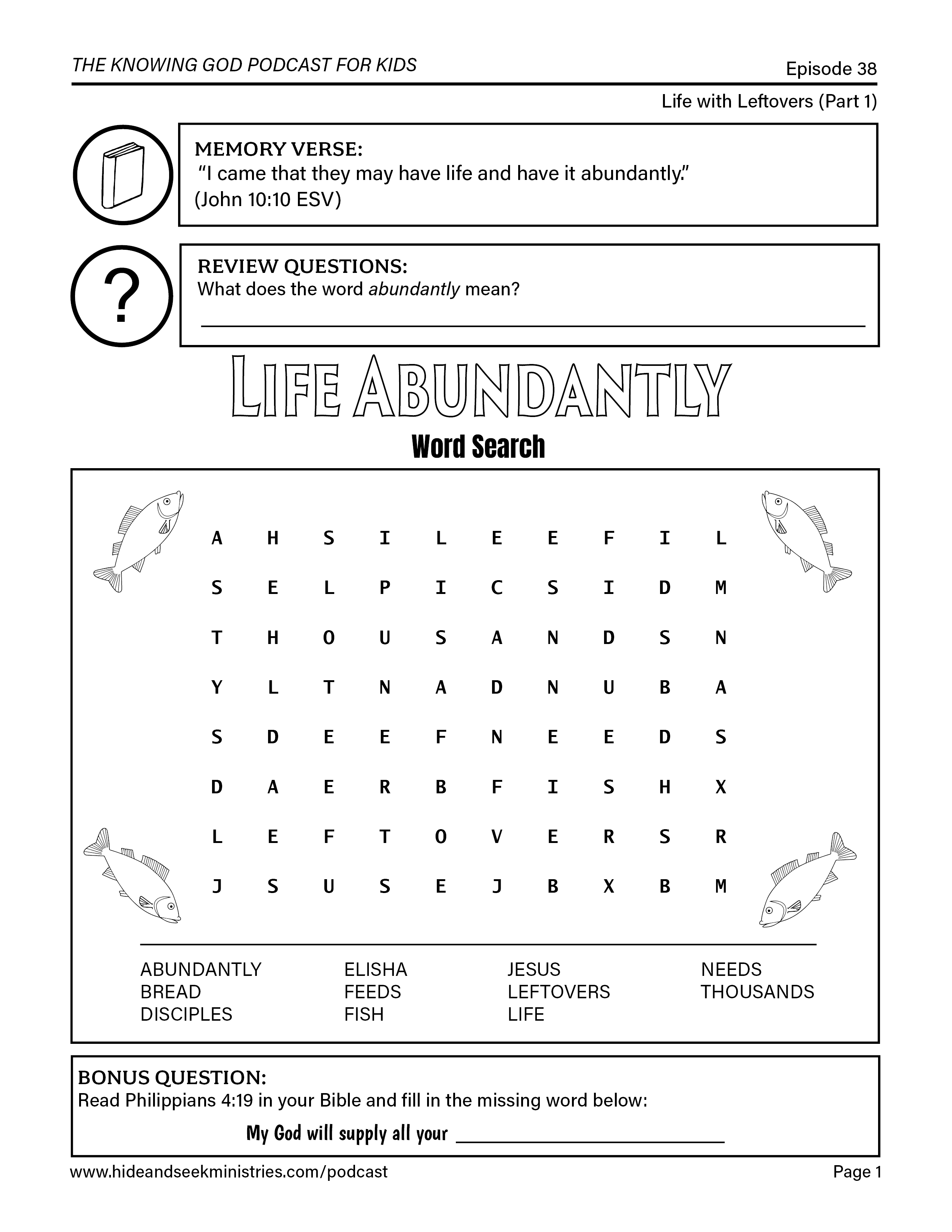 Free Bible Worksheet That Reviews Episode 38 Of The