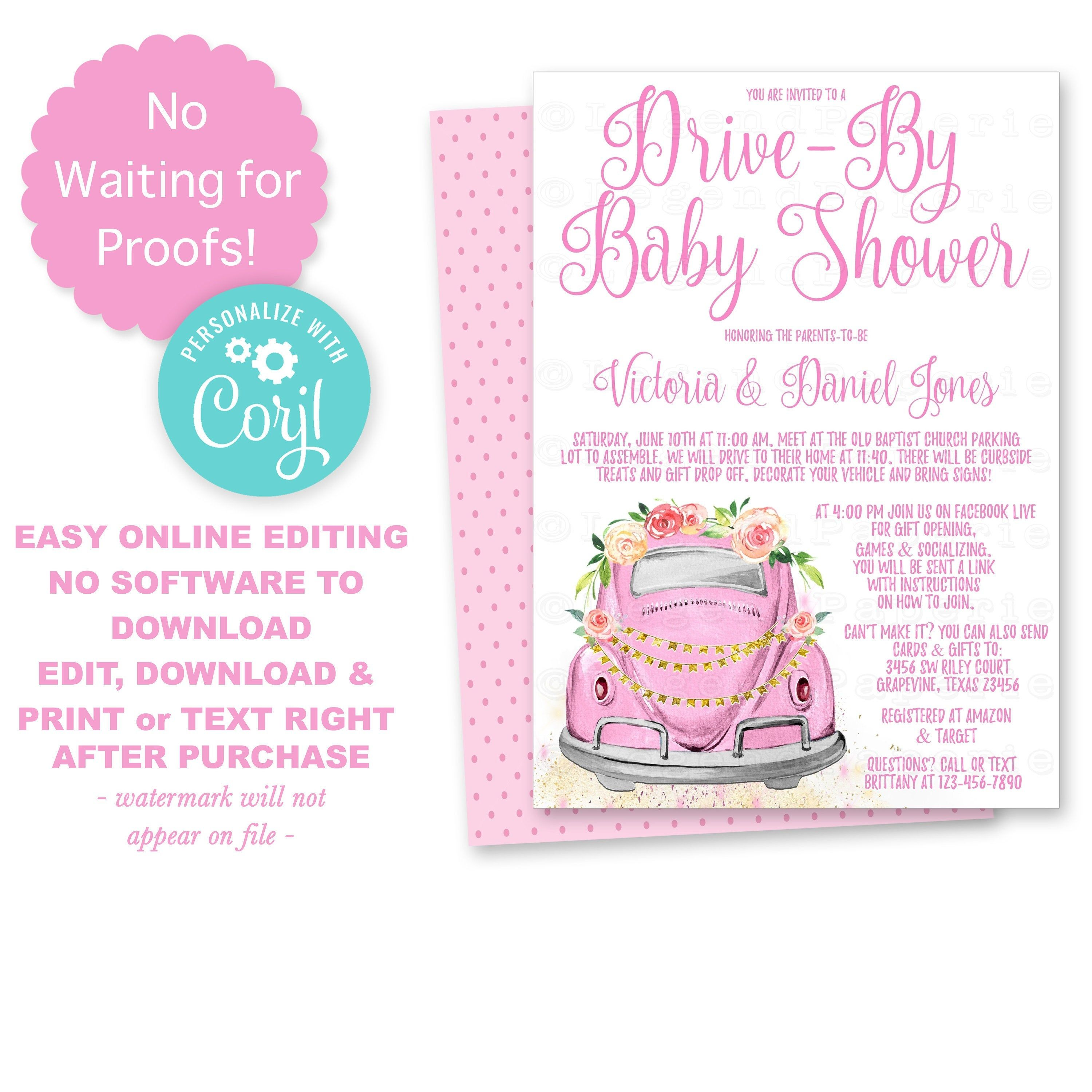 Drive By Baby Shower Sign printed /&  Ready to Use as shown NOT a printable