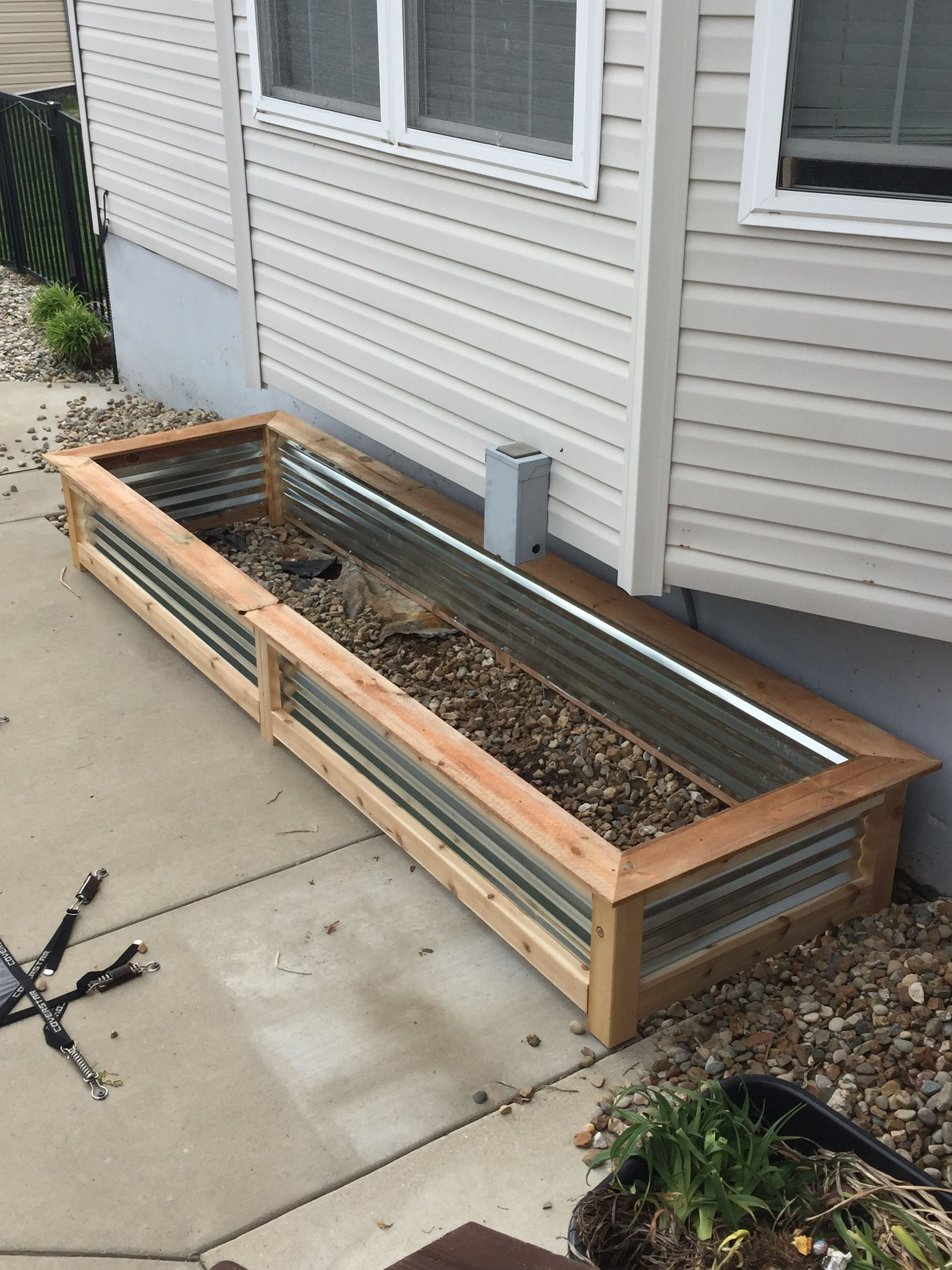 Raised Cedar Garden Box With Corrugated Metal Sides