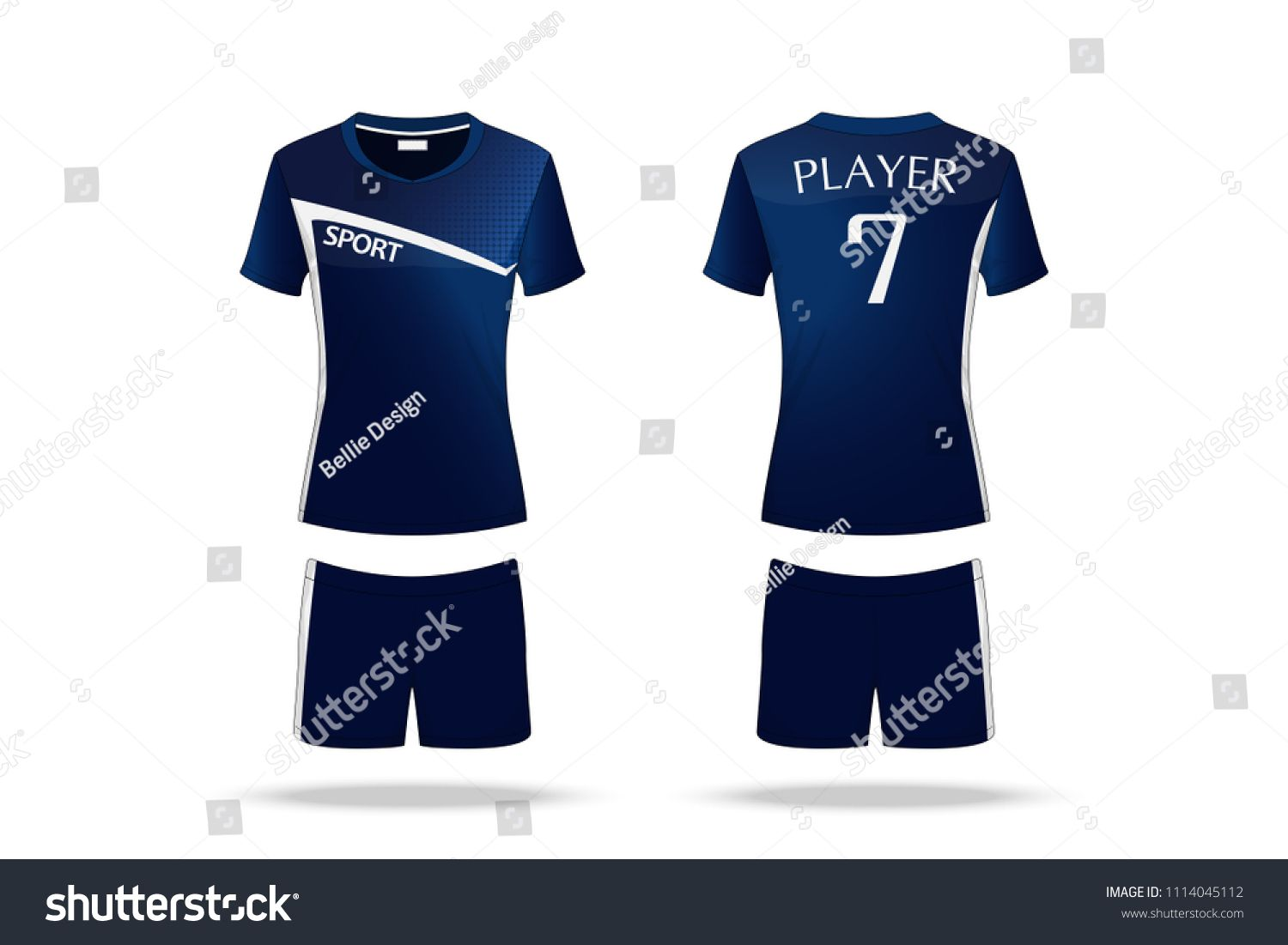 Specification Volleyball Jersey Isolated On White Background Sport T Shirt Round Neck And Short Pants Template Sport T Shirt Volleyball Jerseys Team Uniforms
