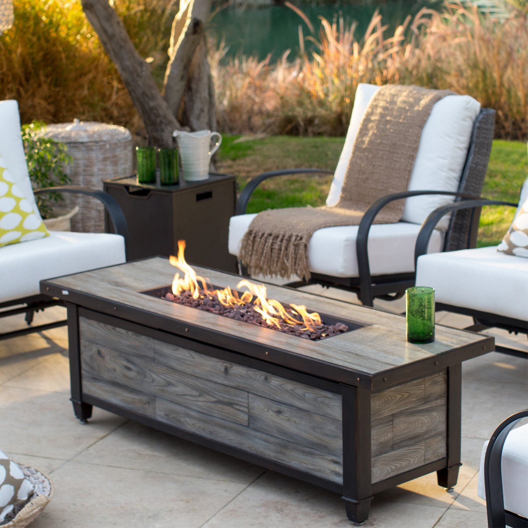 Belham Living Augusta 60 In Coffee Height Fire Table With Free Cover Fire Table Fire Pit Patio Set Fire Pit Backyard