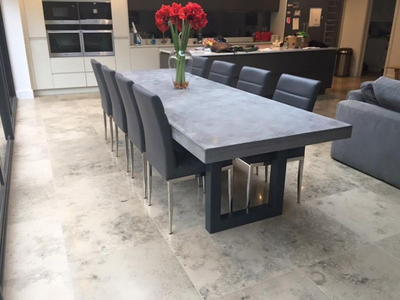 concrete kitchen table wood shelves 3 metre polished dining home style in 2019