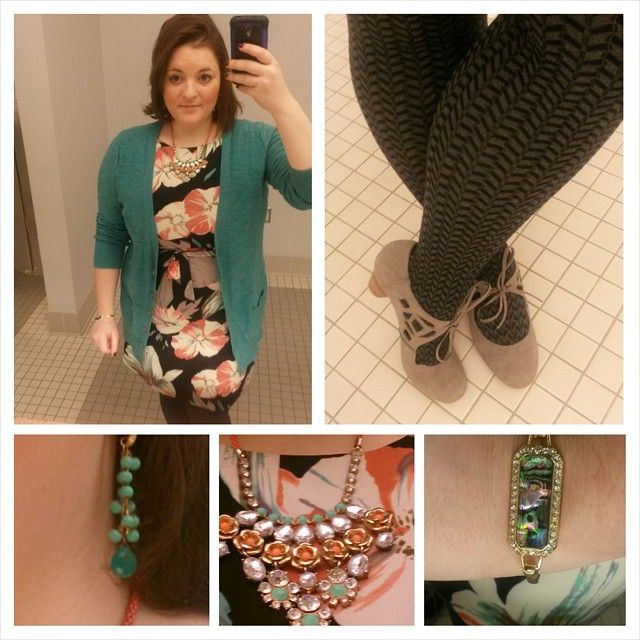 Floral ruffle dress by #NineWest via #ideel , green boyfriend cardigan by #Mossimo via #Target #TargetStyle , black and gray herringbone print tights, gray cutout Mary Janes by #ChelseaCrew via #DSW #ShoeLover , opalescent bracelet via @flauntboutiquetx , gold and turquoise hanging beaded earrings via #StitchFix , green and coral necklace by #LeslieDanzis
