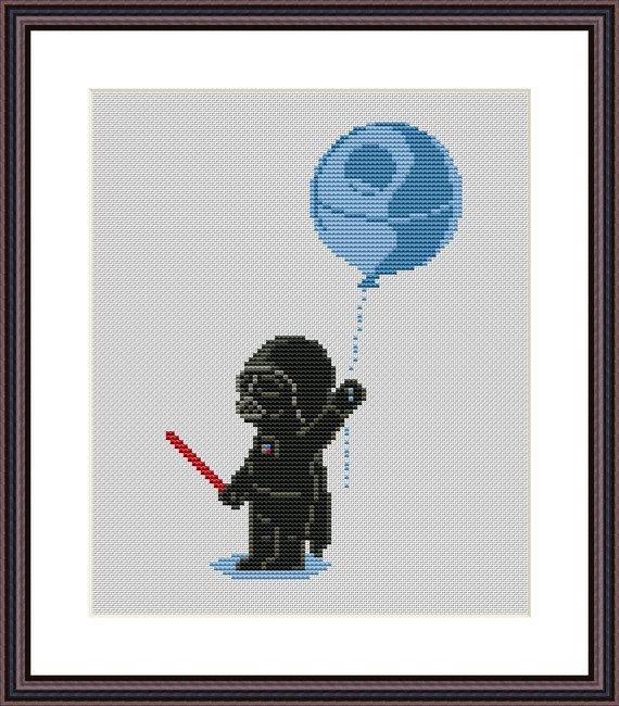 Star Wars Funny Cross Stitch PDF Pattern Darth Vader and Death Star ...