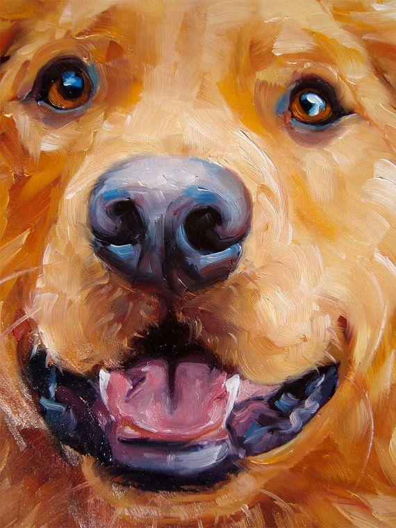 Golden Babu Boo Custom Pet Portrait Oil Painting 12x12 Pet Portraits Paint Your Pet Dog Paintings