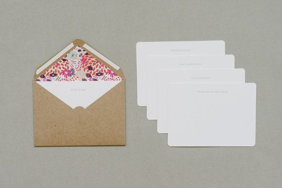 Letterpressed note cards with {jungle} pattern lined kraft envelopes by Seven Swans Stationery