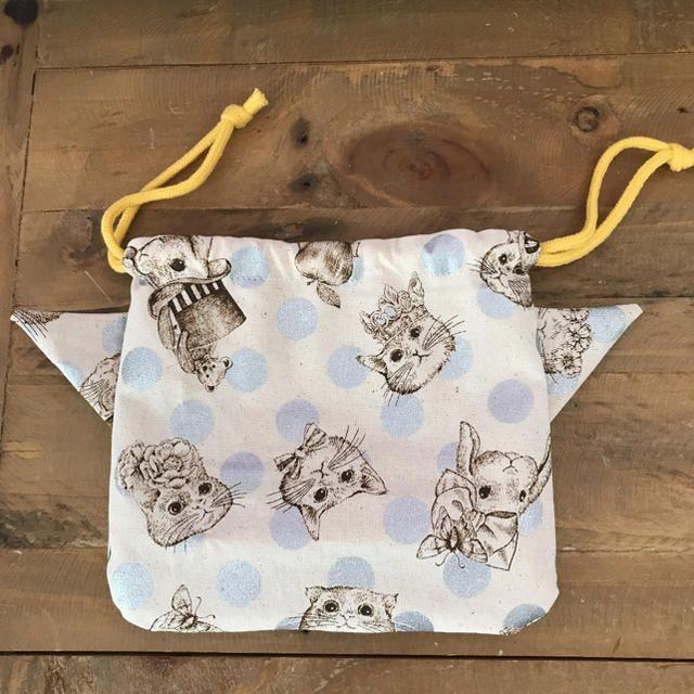 ジョリーフルール 猫耳 巾着 ハンドメイド フリマアプリ ラクマ 巾着 刺繍 図案 サニタリーケース