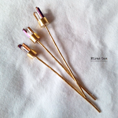 Purple and gold crystal hair stick by Miras Gem
