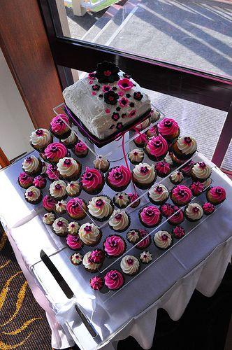 black and fuschia cupcake wedding cakes  Raspberry white choc