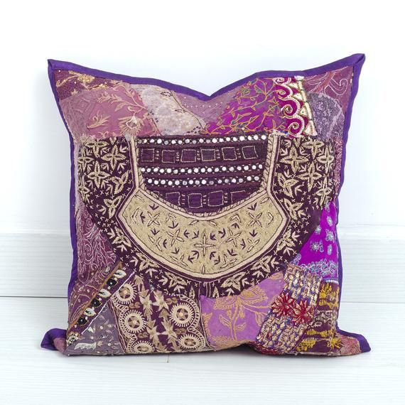 Boho Pillow Cover Accent pillow Decorative throw pillow Bohemian Vintage Embroidered Pillow patchwor
