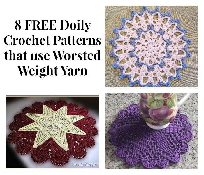 8 Free Doily Crochet Patterns That Use Worsted Weight Yarn Crochet