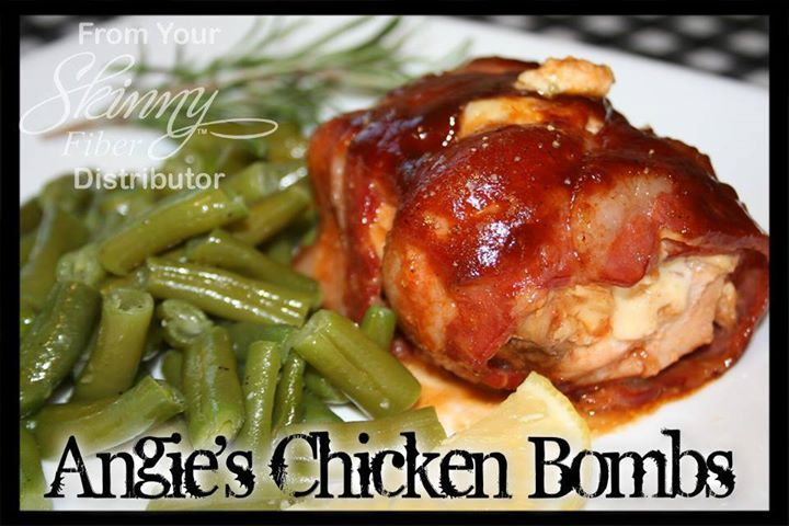 """Angie's """"Better Than Sex"""" Chicken Bombs   4 Boneless Skinless Chicken breasts, cut in half lengthwise (makes 8 )  16-24 slices Maple Smoke Bacon  Honey Barbecue Sauce Hickory Smoke Barbecue Sauce  1 16 ounce package Cream Cheese (room temp) 8 slices of Pepperjack Cheese Green Onions, diced  sliced Jalapeno peppers (optional)  Directions:"""