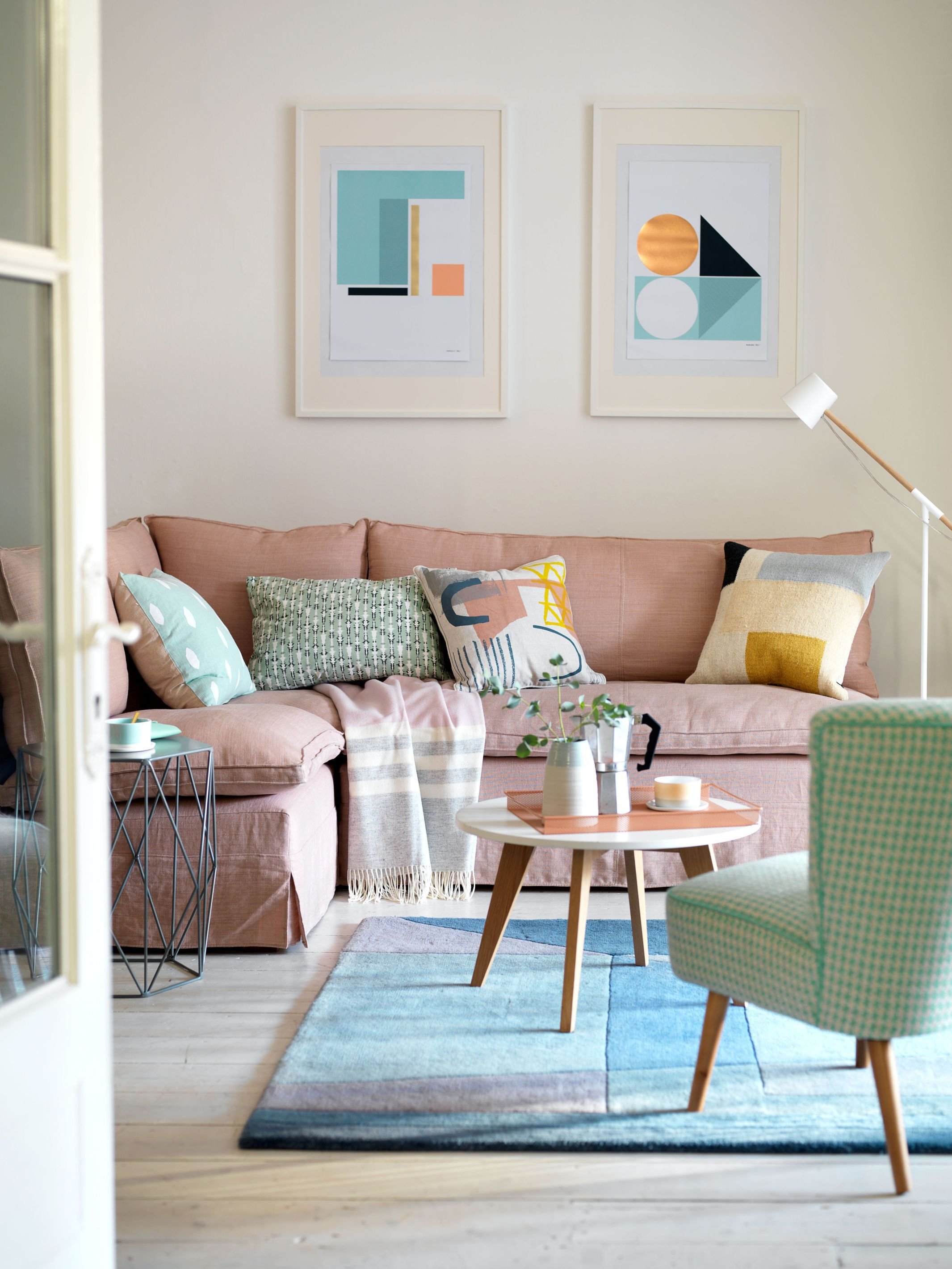 Corner Sofa In Blush Pink This Stunning Scandi Style Living Room Features Framed Geometric Prin Pastel Living Room Scandi Living Room Scandi Style Living Room