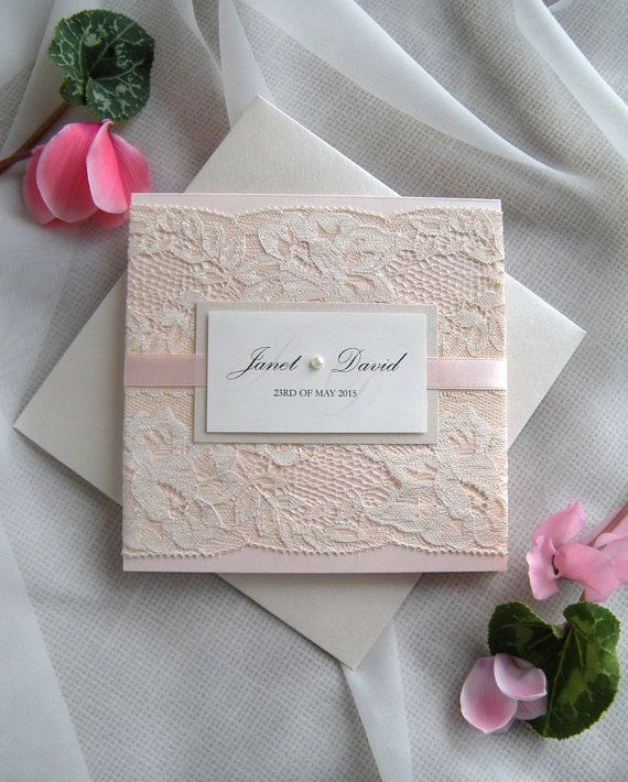 Wedding Invitation Lace Blush Rose By Jrtdaisy