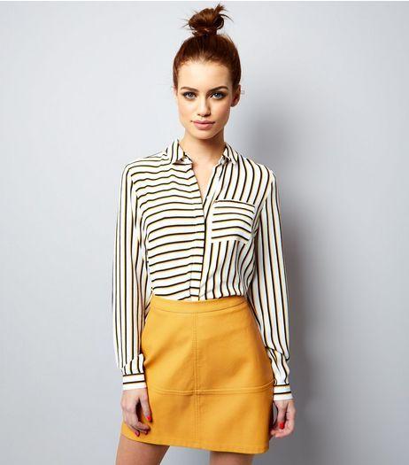 664c94539 Petite Yellow Seam Trim Leather-Look Mini Skirt | New Look | camille ...
