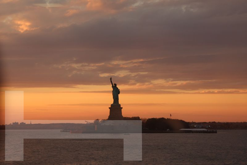 Statue of Liberty at sunset - hello New York!