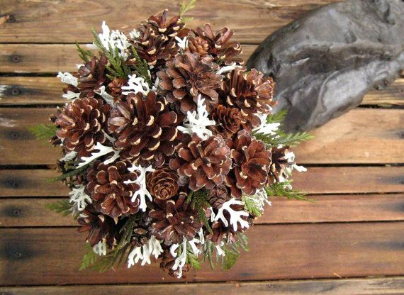 Winter Evergreen Pine Cone Bouquet Dried Flower by SeasonalBounty - flores secas
