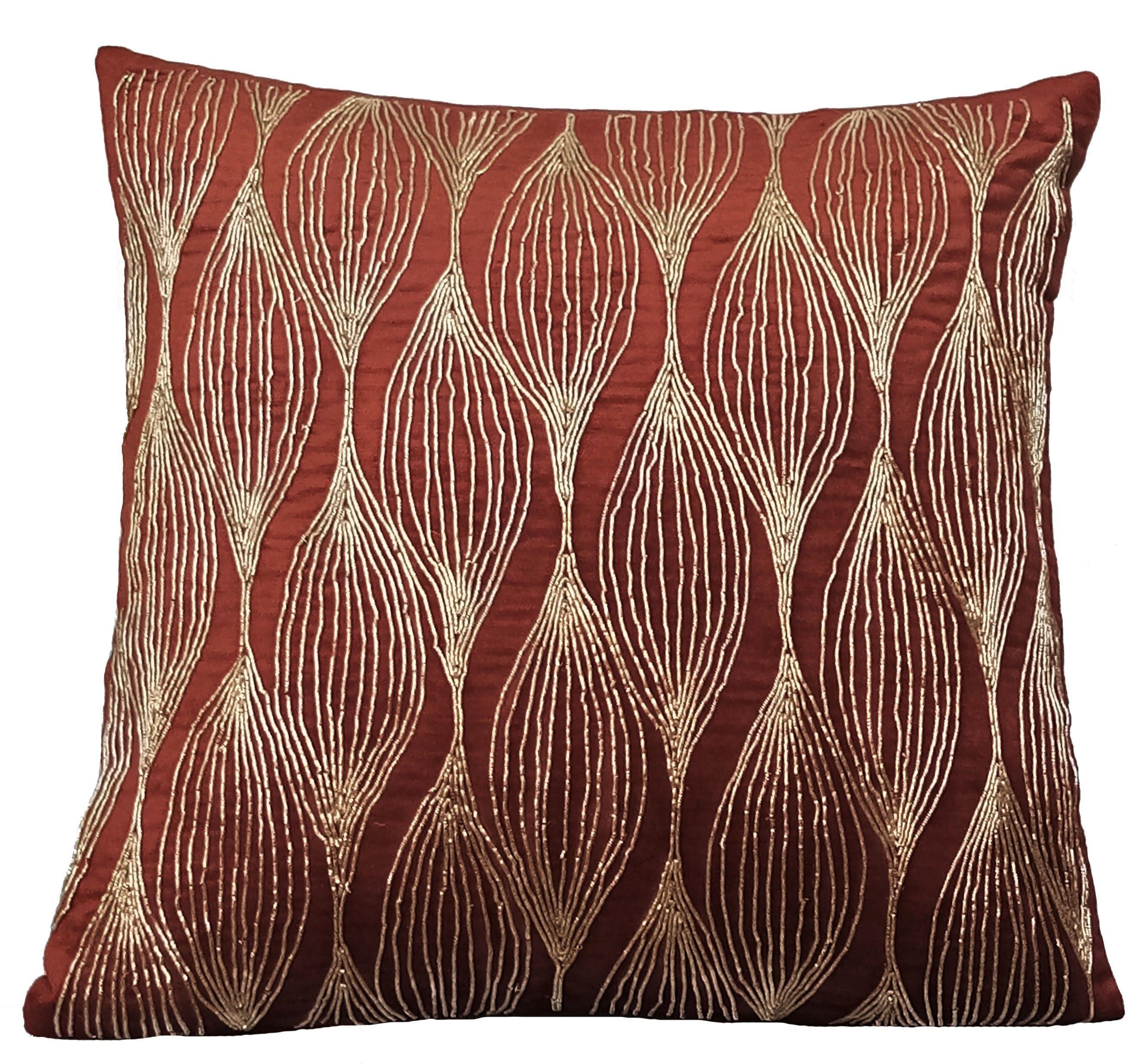 Decorative Toss Pillow Cover 16 X16 Velvet Throw For Sofa Rust