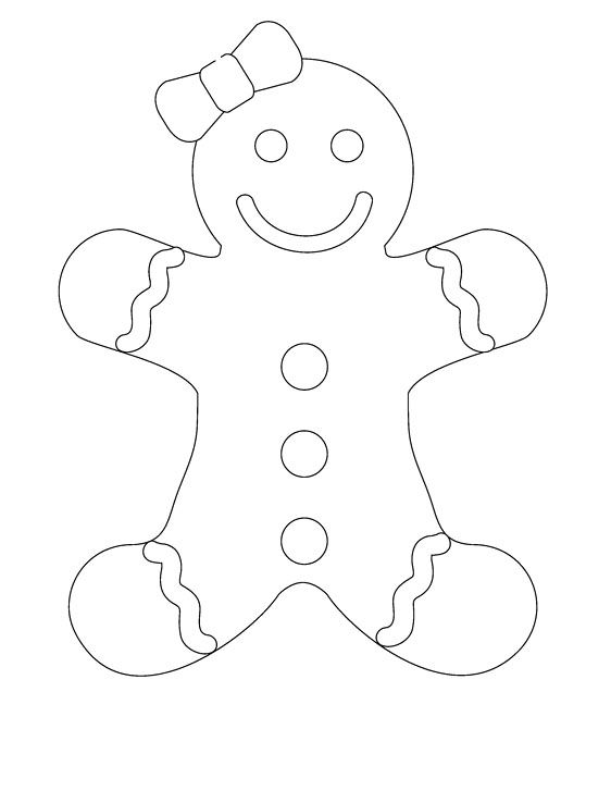 Smile Gingerbread Girl Coloring Pages | Party | Pinterest