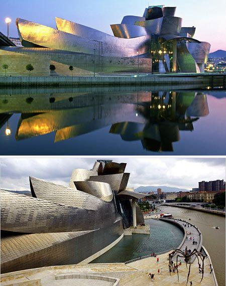 """Das Guggenheim-Museum in Bilbao ist ein futuristisches Gebäude und diente vielen Filmen als Kulisse. James Bond """"The world is not enough"""" mit Pierce #Brosnan wurde hier gedreht."""